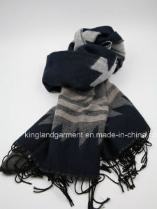 100% Acrylic Quality Navy Striped Woven Scarf with Fringe pictures & photos