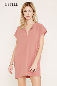 Simple Pure Color Short Sleeve Casual Women′s Dress pictures & photos