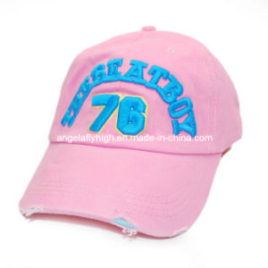 Fashion Pink Color Embroidered Logo Antique Finish Baseball Cap pictures & photos
