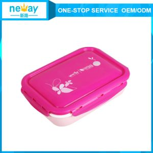 1050ml Blue and Pink Rectangular Portable Plastic Lunch Box pictures & photos