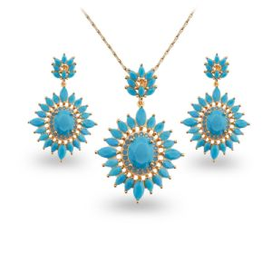 Blue Stone Copper Zircon Jewelry Fashion Gold Plated Jewelry Sets pictures & photos