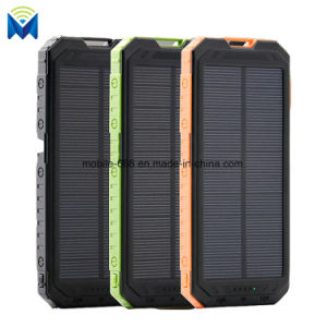 10000mAh Portable Dual USB Solar Power Bank with LED Light with Compass Outdoors Emergency Battery pictures & photos