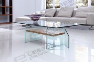 Curved Clear Glass Top TV Stand with Veneer Wood Leg pictures & photos