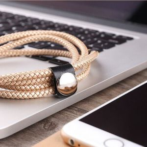 Best Selling 2.4A Fast Charging PU Leather Braided USB Cable pictures & photos