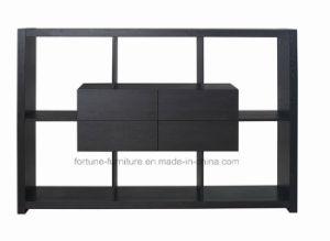 Modern Wooden Veneer Laminated Black Display Shelf (P6265wu01)