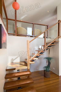 Interior Luxurious Wood Ladder / Glass Wood Stair pictures & photos
