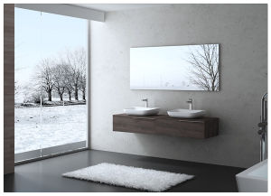 Double Glass Sink Bathroom Vanity Cabinet