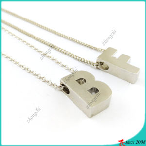 Silver Plain Slide Charms Necklace Letters (FN16041814)