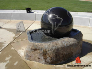 Black Granite Stone Garden Ball Water Fountain with Etching pictures & photos