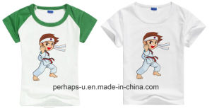Kids Crew Neck T-Shirt with Taekwondo Cartoon Printing pictures & photos