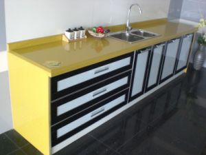 Yellow Quartz Kitchen Countertops with Sink pictures & photos