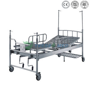 Ys-322 Hospital Two Crank Care Stainless Steel Bed pictures & photos