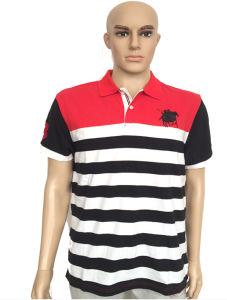 Golf Polo Shirt Double Mercerized Cotton Men Striped Polo Shirt pictures & photos