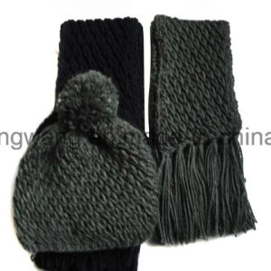 Customized Kid′s Winter Warm Knitted Acrylic Set pictures & photos