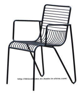 Modern Metal Dining Restaurant Arm Stackable Chairs pictures & photos
