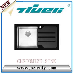 Custom Stainless Steel Topmount Tempered Glass Kitchen Sink