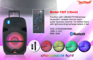 New Arrival 12 Inch Multi -Colored Battery Speaker with Bt, Mic F22t pictures & photos