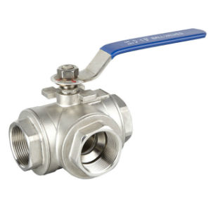 Ss Three-Way Threaded Bsp Ball Valve pictures & photos