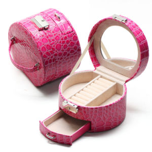 Factory Price Leather Travel Jewelry Box with Mirror pictures & photos