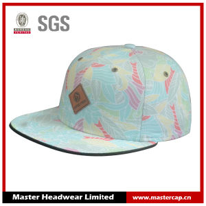 Polyester Cotton Snapback Cap with PU Embossed Leather