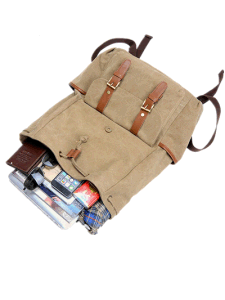 Khaki Color Washed Canvas School Leisure Outdoor Sports Travel Backpack Bag pictures & photos