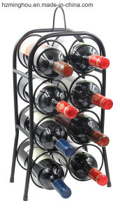 Free Standing Countertop Black Powder Coated Metal Wine Display Rack pictures & photos