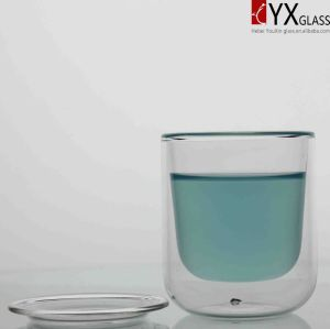 80ml Creative Design Double Wall Glass Coffee Cup with Glass Cover(can worked as glass saucer)/Double Wall Glass Tea Cup with Glass Saucer/Double Wall Glass Cup pictures & photos