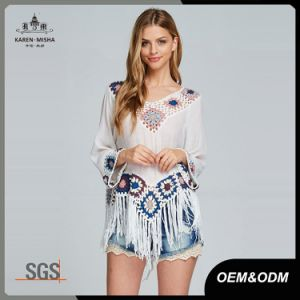 Lady Sweet Fringed Hote Sales Handmade Crochet Shirt pictures & photos