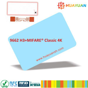 RFID combo hybrid MIFARE Classic 1K + UHF H3 smart combi Card pictures & photos