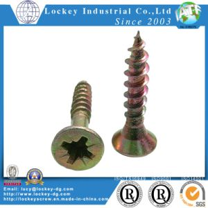 Flat Head PVC Self Tapping Screw Yellow Zinc pictures & photos