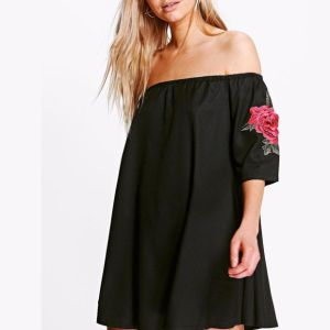 Fashion Women Casual Loose Sexy Flower Embroidery Party Tube Dress pictures & photos