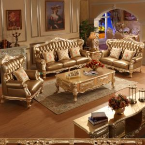 Leather Sofa with Table for Home Furniture (D508A)