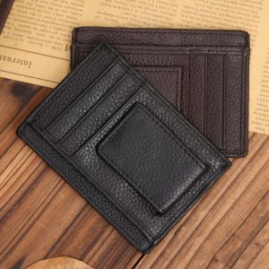 Magnet Money Clip Card Holder Men Genuine Leather Wallet pictures & photos