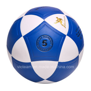 Nice Looking Blue Composite Leather Soccer Ball pictures & photos