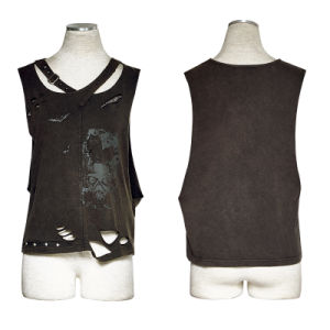 T-450 Punk Cotton 100% Printed Hole Knitted Leisure Vest pictures & photos
