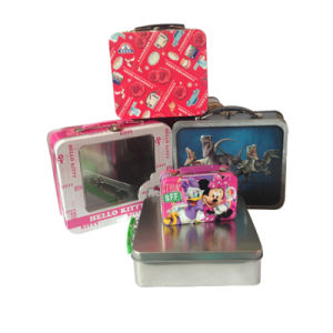 Tin Lunch Box with Plastic Handle Custom Printed Pattern Accept pictures & photos