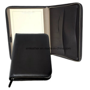 Italian Leather Padfolio Document Holder with Zipper Closed pictures & photos