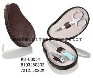 Promotion Heart Shape Red Leather Zipper Manicure Set Pedicure Kit pictures & photos