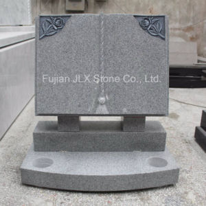 G633 Grey Granite Book Shape Headstone with Rose Carving pictures & photos