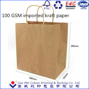 Custom Recyclable Brown Kraft Paper Shopping Tote Bag with Logo Print pictures & photos
