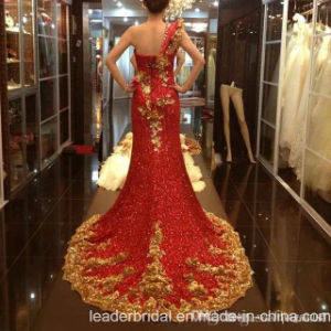 One-Shoulder Party Prom Gowns Gold Red Sheath Evening Dresses Z7018 pictures & photos