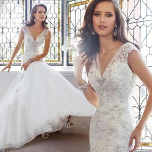 Lace Deep-V Collar Waist Fish Tail Exposed Bride Wedding Dress pictures & photos