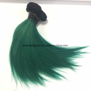 Top Quality Virgin Hair Weft Silky Straight 10inch Green Color pictures & photos