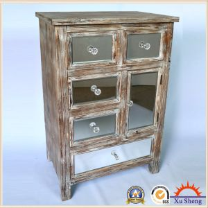 4 Drawers Antique Mirror Storage Cabinet with Solid Wood Frame Wood Color pictures & photos