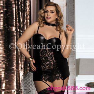 Lace Leather Babydoll with Garter Black Leather Lingerie for Fat Women Plus Size Teddy pictures & photos