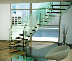 Hot Sale Curved Glass Staircase with Antiskip Glass Tread pictures & photos
