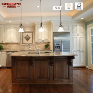 Finished Solid Wood Golssy Kitchen Cabinet (GSP5-045) pictures & photos