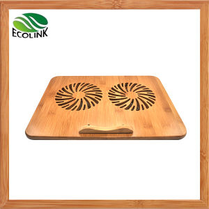 Double Cooling Fans for Notebook/ Bamboo Laptop Cooling Pad pictures & photos