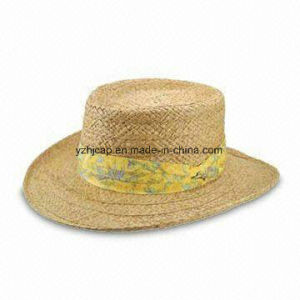 Mixed Color Paper Braid Sewn Braid Fedora Straw Hat pictures & photos