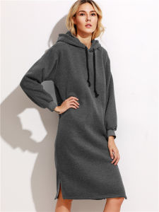 Dark Grey Hooded Slit Side Drawstring Sweatshirt Dress pictures & photos